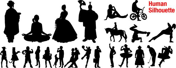 フリーダウンロード素材集シルエット人物イラストグラフィック画像